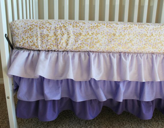 gold and purple crib bedding set ombre ruffled skirt and confetti