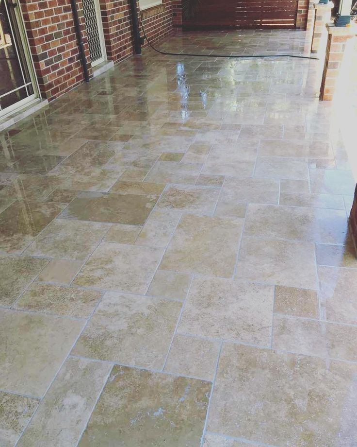 Amber Tiles Kellyville: Travertine, Ancient Mix, French pattern #travertine #patio #paving #frenchpattern #naturalstone #ambertiles #ambertileskellyville