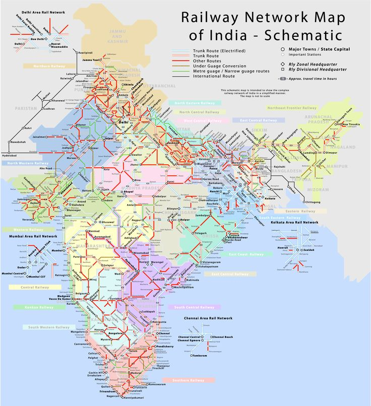 Indian Railways Network Schematic Map. Click for a high-resolution version.