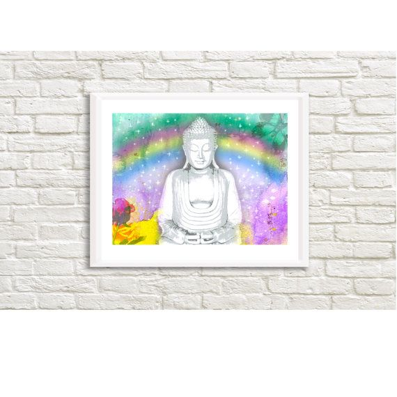Buddha and Rainbow 31 x 23 Art High by LittleLotusFlowers on Etsy