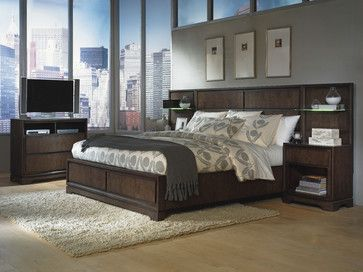 Grey Brown bedroom - dark furniture. I could do this