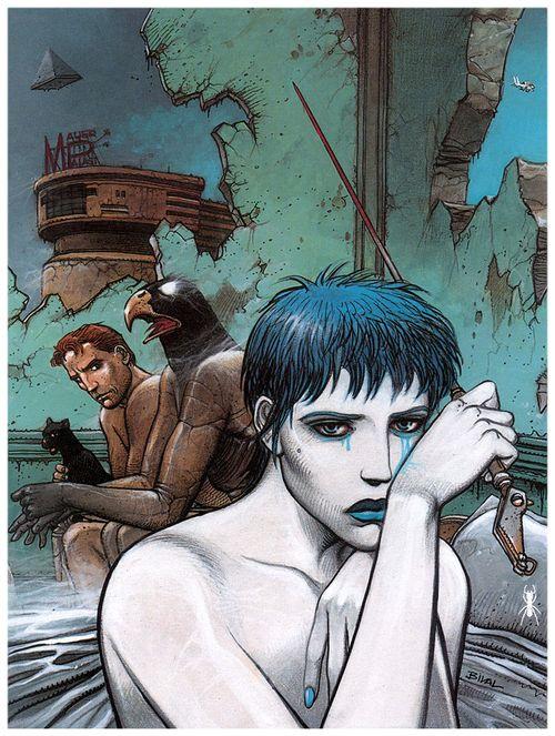 Illustration de la couverture originale de La Femme Piège (1986) d'Enki Bilal.