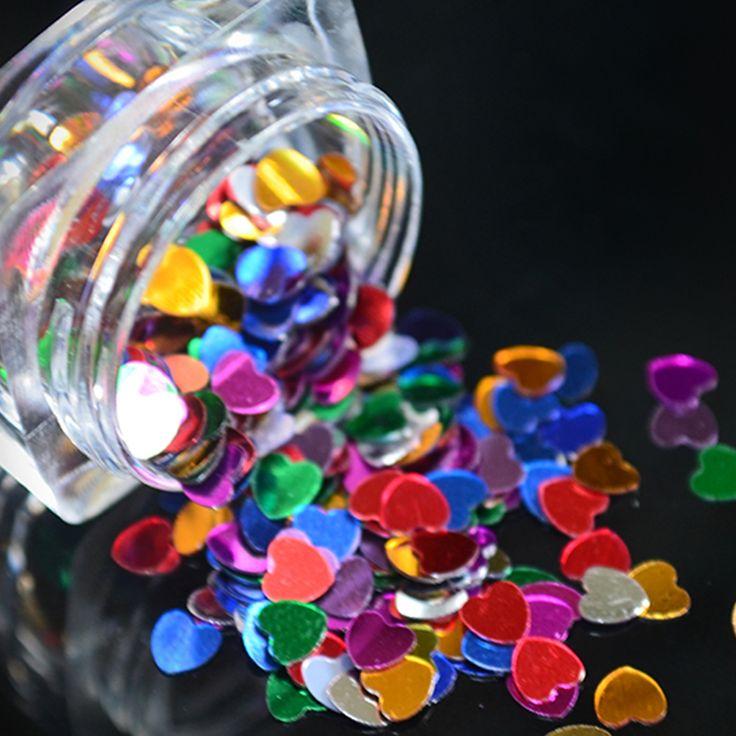 1 Box 4mm Heart-shaped Sheet Sparkling Nail Art Sequins Decoration Manicure Glitter Nails Art Tools Colorful Nail Art Decors