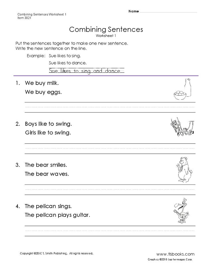 Combining Sentences Worksheet 1 Reading Pinterest