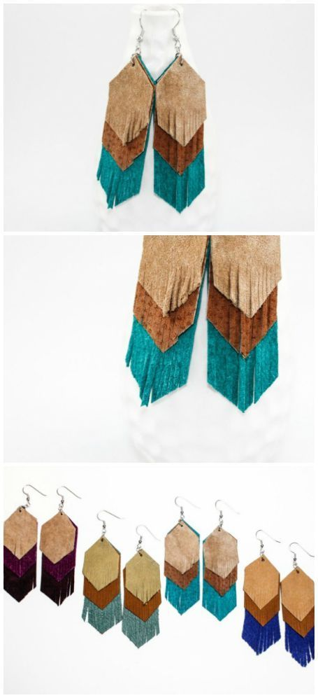 Suede fringe earrings boho chic look turquoise, brown and tan, hipster jewelry, coachella jewelry, handmade handcrafted jewelry made in the USA by Once Again Sam on aftcra