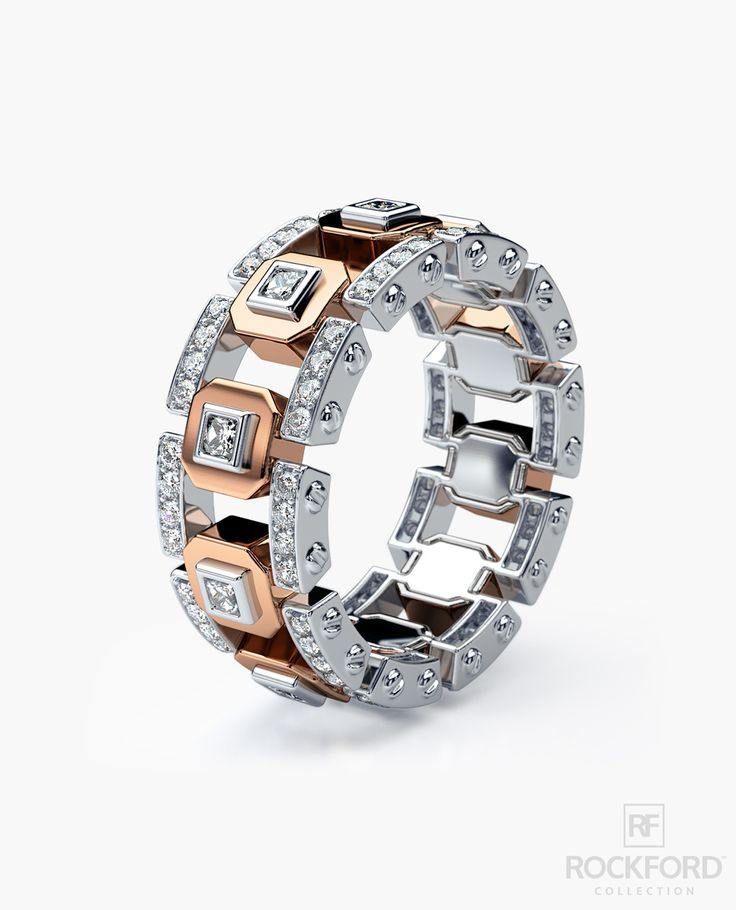 The design of this men's wedding band bridges two different styles in its variations of diamond pave setting and metals: contemporary classic and cutting-edge modern. In addition to being a one-of-a-k