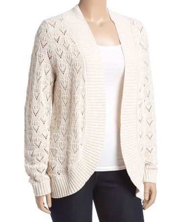 Another great find on #zulily! Oatmeal Marled Curved Cardigan - Plus #zulilyfinds