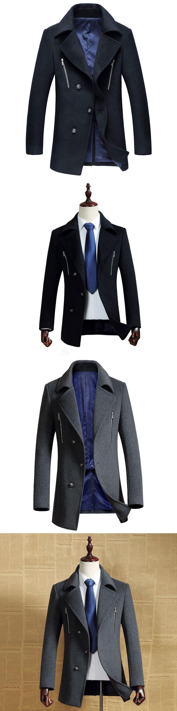 2016 new winter wool trench coat Men Men's Outerwear Casual Coat Men's Jacket Windbreaker size M-3XL,navy blue,gray,black