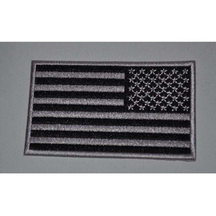 Black & Grey Reversed American Flag Patch