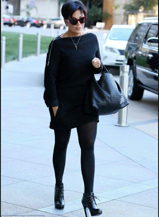 Kris Jenner ~ Love this sexy chic outfit, all black dress, leggings & booties