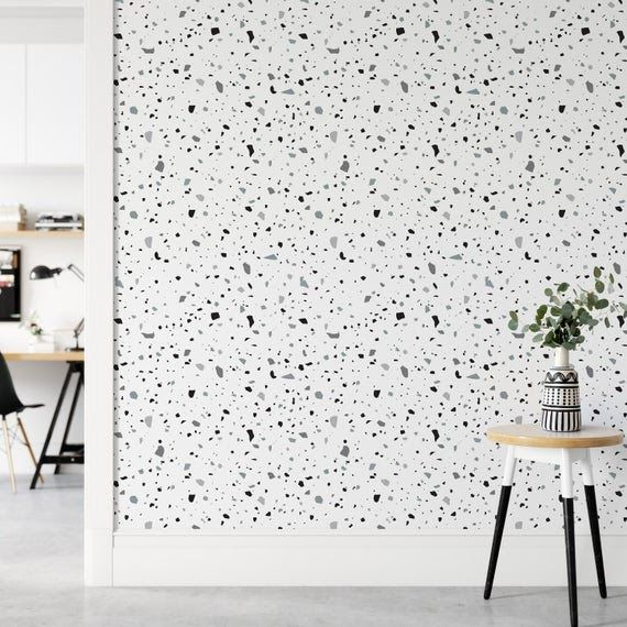 Sticker Wallpaper Easy Diy Apply Paper Free Peel And Stick Selfadhesive Textile Based Wallpaper Black And White Terrazzo Pvc Self Adhesive Solid Color Wallpap