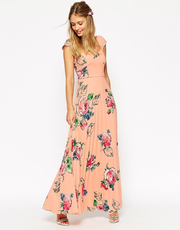 ASOS WEDDING Maxi Tea Dress With Pleated Skirt In Rose Print really love this dress!