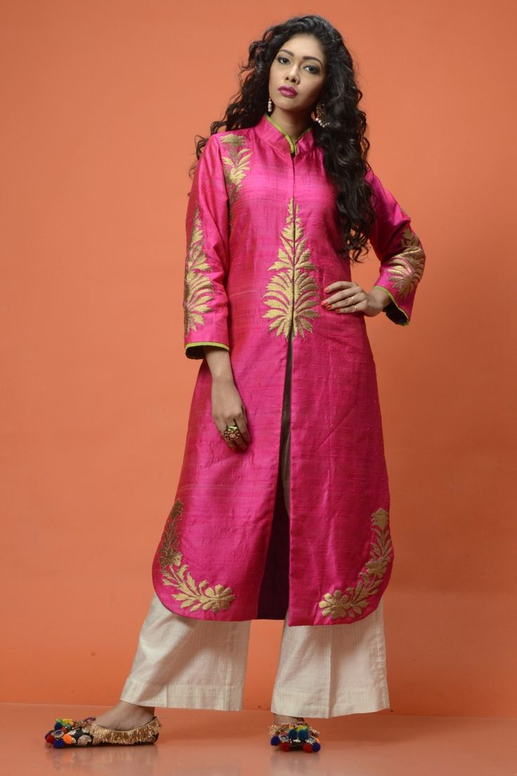 Ambrish Damani Pink silk Jacket with white pants