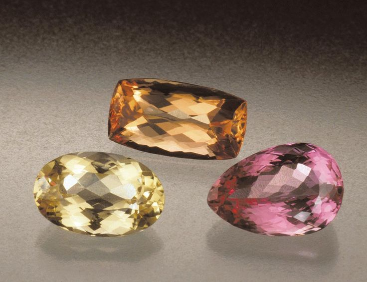 Topaz's broad color range allows for cultural preferences for different hues. Europeans are fond of yellows. Consumers in eastern Asia like pinks and reds. People in the US buy topaz of all colors, but favor blues. - Courtesy Pala International. GIA (110514)