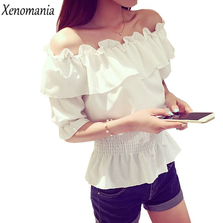 White Ruffle Blouse Off Shoulder Top Chiffon Blouses Cheap Clothes China 2017 Korean Blusas Body Shirt Women Chemise Femme Tunic