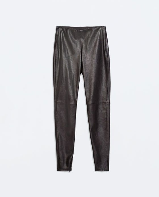 Image 5 of FAUX LEATHER LEGGINGS WITH SEAM AT THE KNEE from Zara
