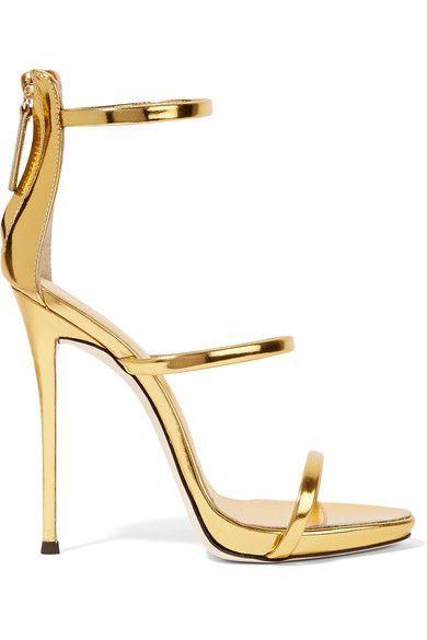 Giuseppe Zanotti - Harmony Metallic Leather Sandals - Gold - IT37.5