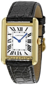 Cartier Ladies Tank Watch, always in style. My comments: Jacqueline B. Kennedy had Cartier make her this watch to wear as a mourning watch after JFK ws assassinated. A new classic was created!