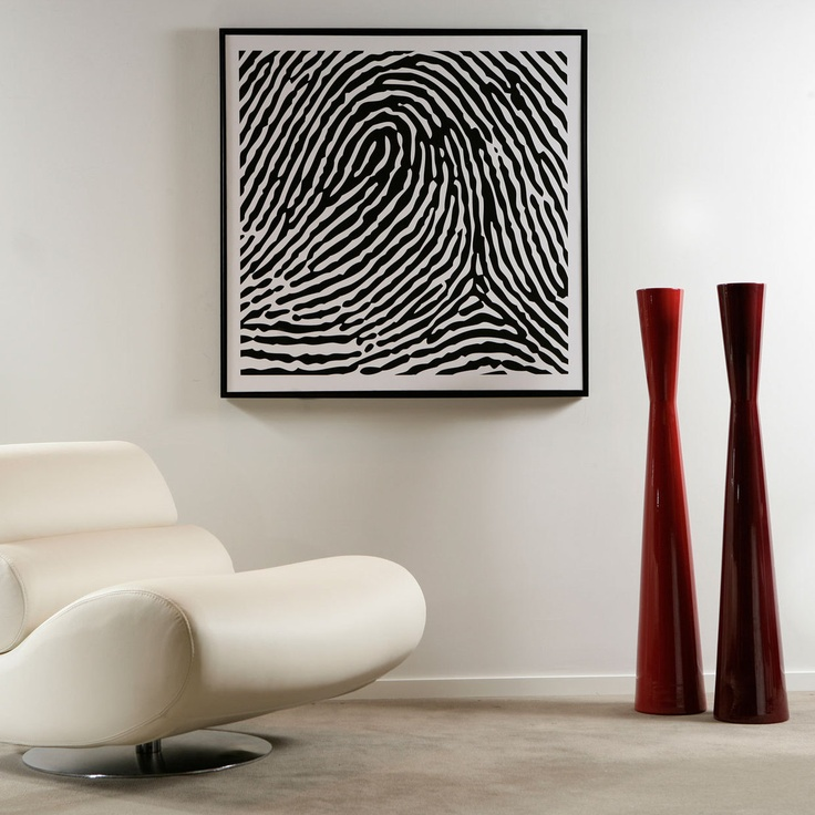 Personalized Finger Print 20x20. Both graphic and personal. Great idea. Nice touch in a room