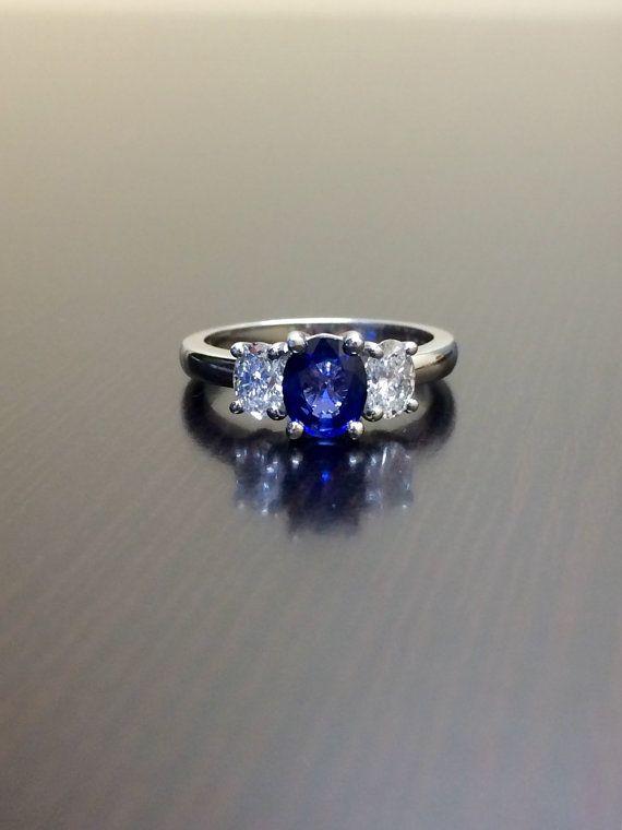 DeKara Designs Collection  Beautiful Modern/Art Deco Ceylon Blue Sapphire and Diamond Ring  Metal- 90% Platinum, 10% Iridium Stones- 1 Natural