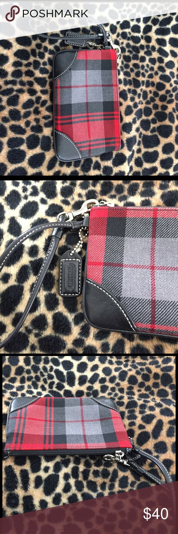 Plaid red and black Coach coin purse Coach red, black grey coin purse Coach Bags Clutches & Wristlets