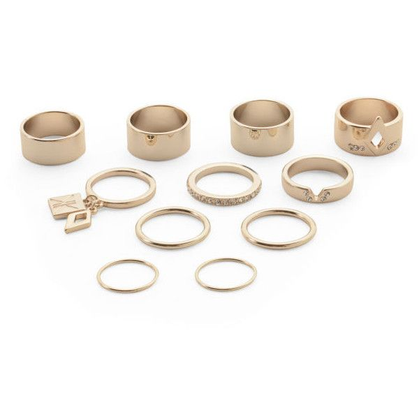 Kardashian Kollection KK 11 Piece Ring Stack Set ($22) ❤ liked on Polyvore featuring jewelry, rings, accessories, stackable rings, stackers jewelry, kardashian kollection jewelry, set rings and kardashian kollection