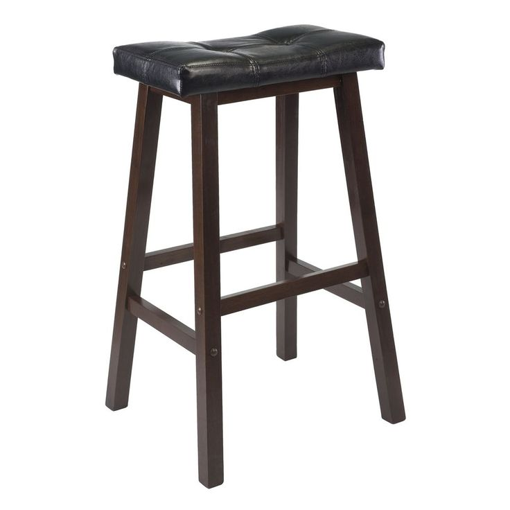 29 Inch Cushion Bar Stool Solid Wood Kitchen Black Faux Leather Seat Wood Legs  #HomeDecor
