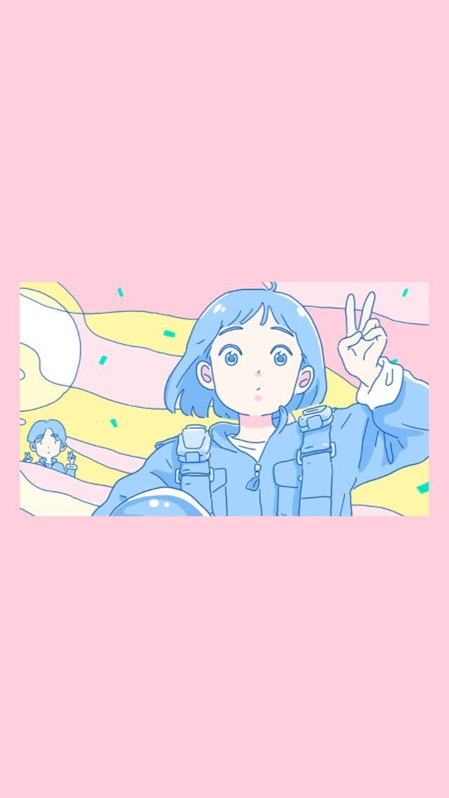 pink peace Anime wallpaper iphone, Kawaii wallpaper