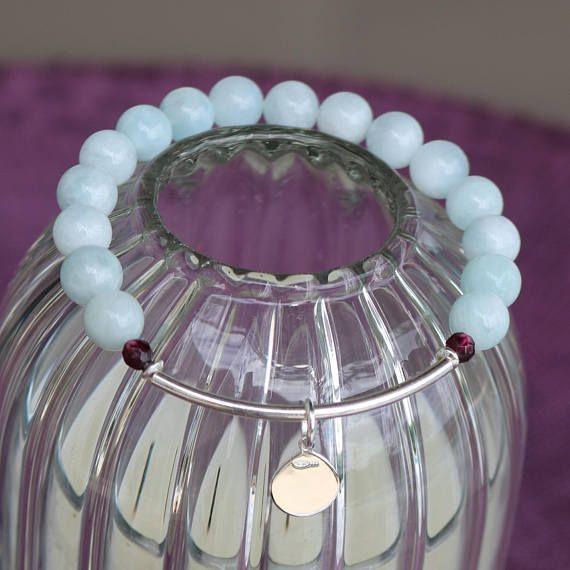 Bracelet femme bracelet jonc argent bracelet aigue marine