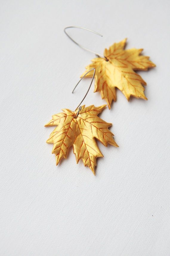 polymer clay maple leaf   Golden Maple Leaves Earrings - handmade fashion jewelry - free ...