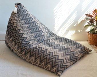 Zig zag pattern bean bag with back rest - Edit Listing - Etsy