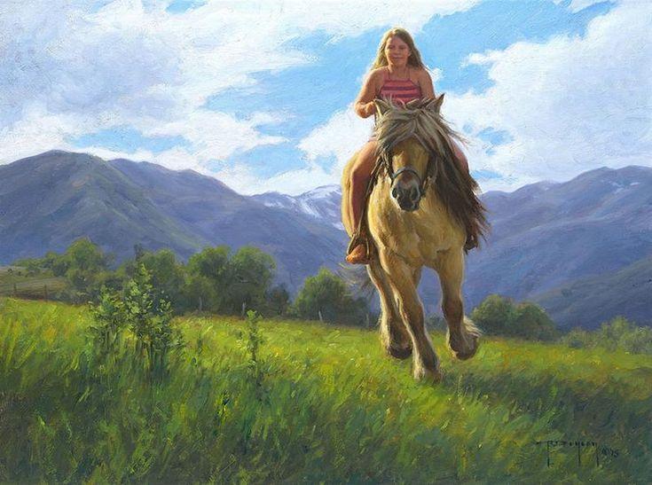 ROBERT DUNCAN LET'S GO GIRL oil on canvas 18 x 24 in (45.72h x 60.96w cm) $5,200  www.trailsidegalleries.com