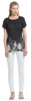Buw-Bluse schwarz weiße Bluse floraler Druck