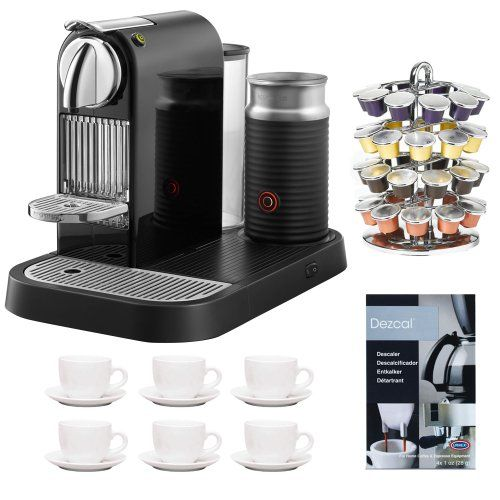 Nespresso D121-US-BK-NE1 Citiz Espresso Maker with Aeroccino Milk Frother, Black + 6-Pieces ...