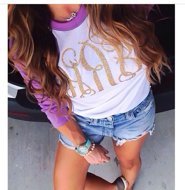 Glitter Monogram Baseball Tee by HKyleBoutique on Etsy https://www.etsy.com/listing/196280081/glitter-monogram-baseball-tee