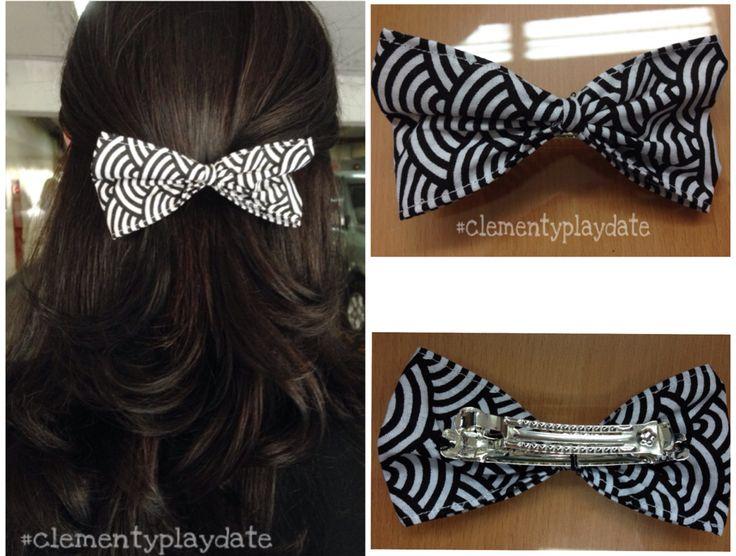 Do what you love! #handmade #bow #blackandwhite #hair #clementyplaydate