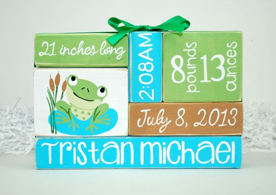 Custom Baby Birth Stats Frog Nursery WoodenBlock by WoodenBlock, $17.00
