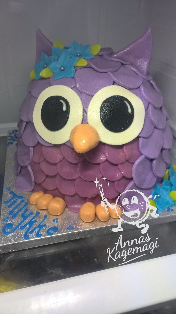 owl cake for a little girls birthday