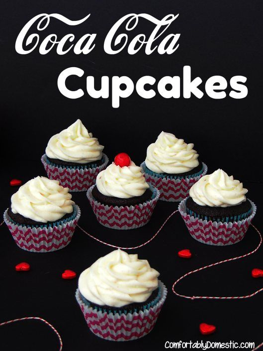 Coca Cola Cupcakes with Vanilla Bean Buttercream  | ComfortablyDomest... lets the iconic soda flavors shine through these rich, fudgy cupcakes.