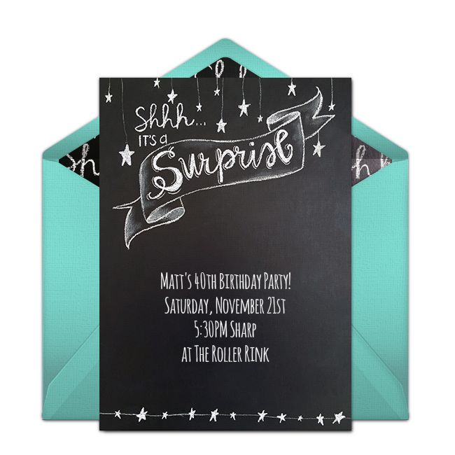 222 best free party invitations images on pinterest free party a great free surprise birthday party invitation featuring a chalkboard design we love this for stopboris Gallery