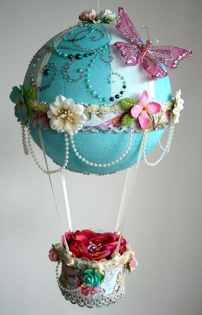 Pearled, gemed, and flowered hot air balloon decoration