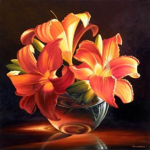 Three Lilies Painting by Varvara Harmon  Does this have the right value for painting?