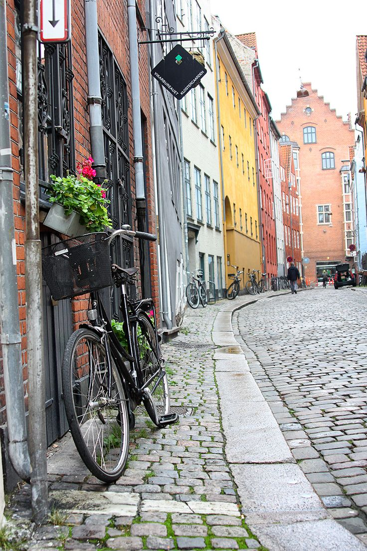 A cobblestone street in Copenhagen- love it!