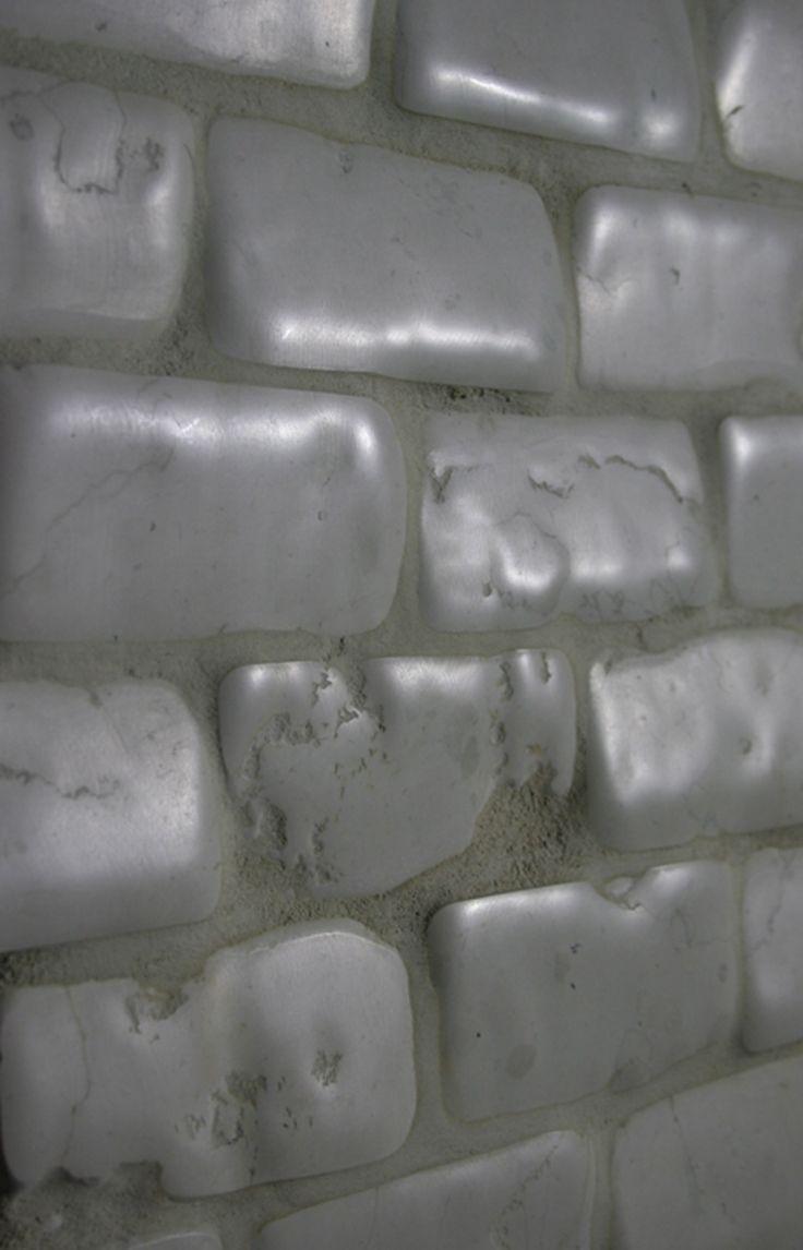 "Timeworn Bricks 2""x4"" Bianco Antico Marble.  Made by Flli Barbieri Italy. www.giovannibarbieri.com"