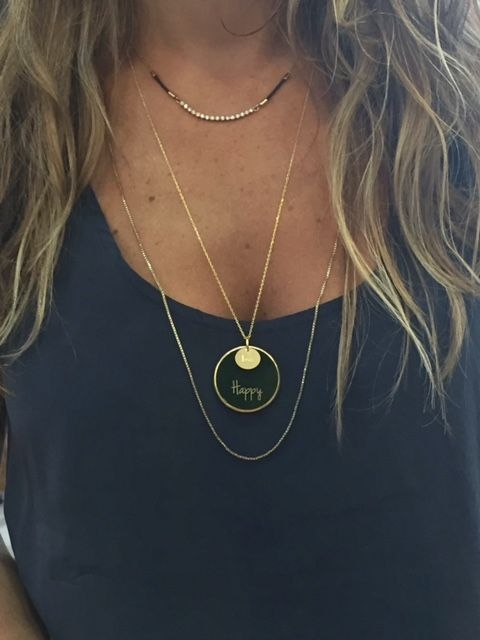 ''Be Happy '' gold plated silver chain and green plexiglass necklace