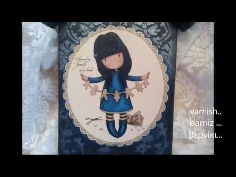 DIY! Decoupage in wooden hanger with Santoro gorjuss favorite in all! Ideal handmade gift for children and youth room! With construction instructions and sim...