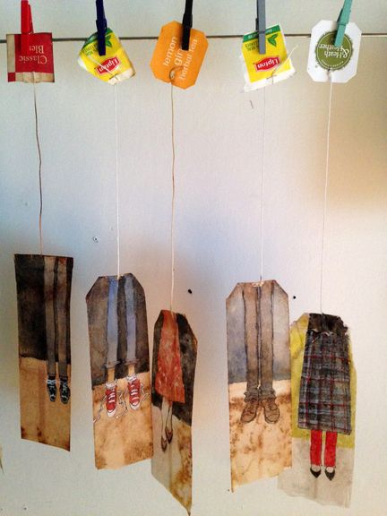 RUBY SILVIOUS. To Walk in your Shoes (Series). Goauche and markers on used tea bags, 2015.