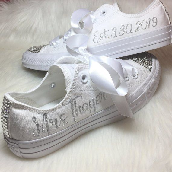 Personalized Wedding CONVERSE Bridal Sneaker with Swarovski Personalized with …