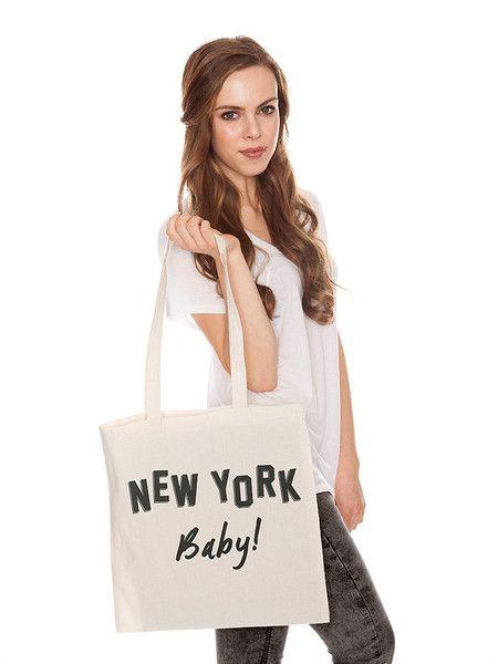 JuteBeutel:+NEW+YORK+Baby!,+natur+von+jute+Beutel+auf+DaWanda.com