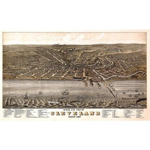 Vintage Panoramic Map of Cleveland Ohio 1877 Cuyahoga Antique Map - Wall Decor - Poster Print - Historic Americana - Old Maps and Prints - from $28  Birds Eye View Of Cleveland, Ohio Drawn by A. Ruger Litho By Shober & Carqueville 1877   << FREE U.S. Shipping for orders over $50 >> << Use coupon code FREESHIPPING50 at checkout >>  This print is made from a high resolution scan of the original vintage print and is truly an amazing image perfect for framing. It makes an excellent addition to…
